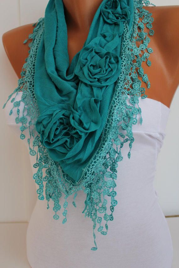 Turquoise cozy Rose Shawl/ Scarf - Headband -Cowl with Lace Edge - Trends from DIDUCI on Etsy. Saved to My Accessories. #scarf #new #need #scarves #shawl #minty #love #fashion.