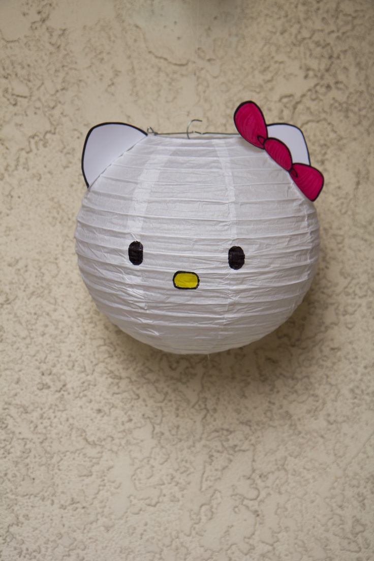 DIY Hello Kitty Paper Lantern - made this for my daughter's bday a few months ago, and just now realized i forgot the whiskers. oh well...
