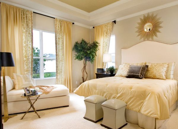 gentle yellow hues blend in the lavishness of gold with softness of cream - Cream Bedroom Ideas