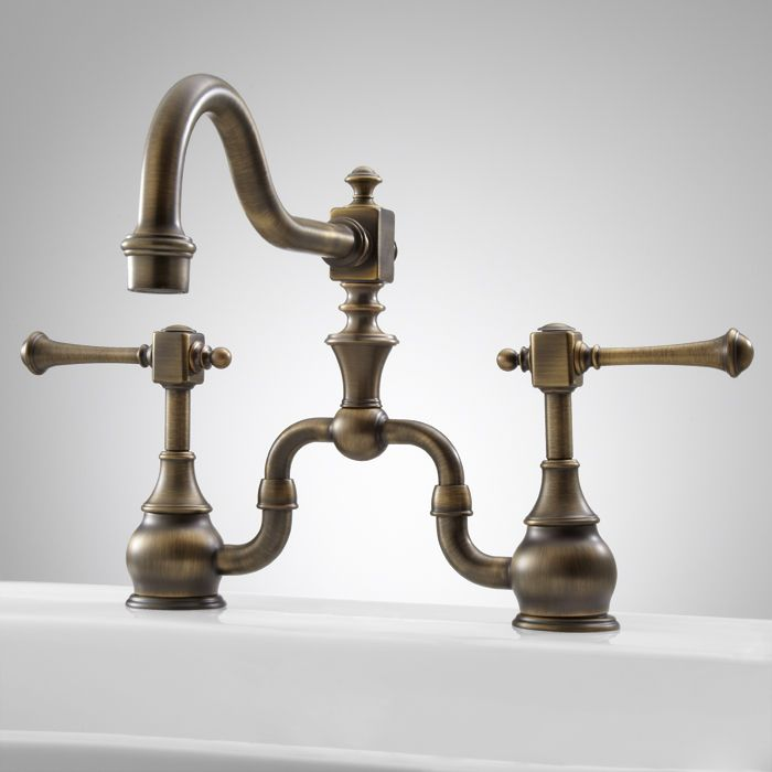 Vintage Bridge Kitchen Faucet with Lever Handles - Antique Brass