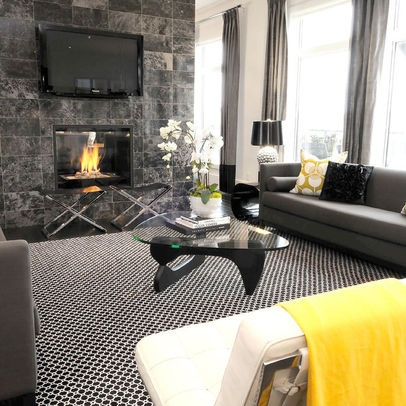 Contemporary Living Room Yellow Grey Bedroom Design, Pictures, Remodel, Decor and Ideas
