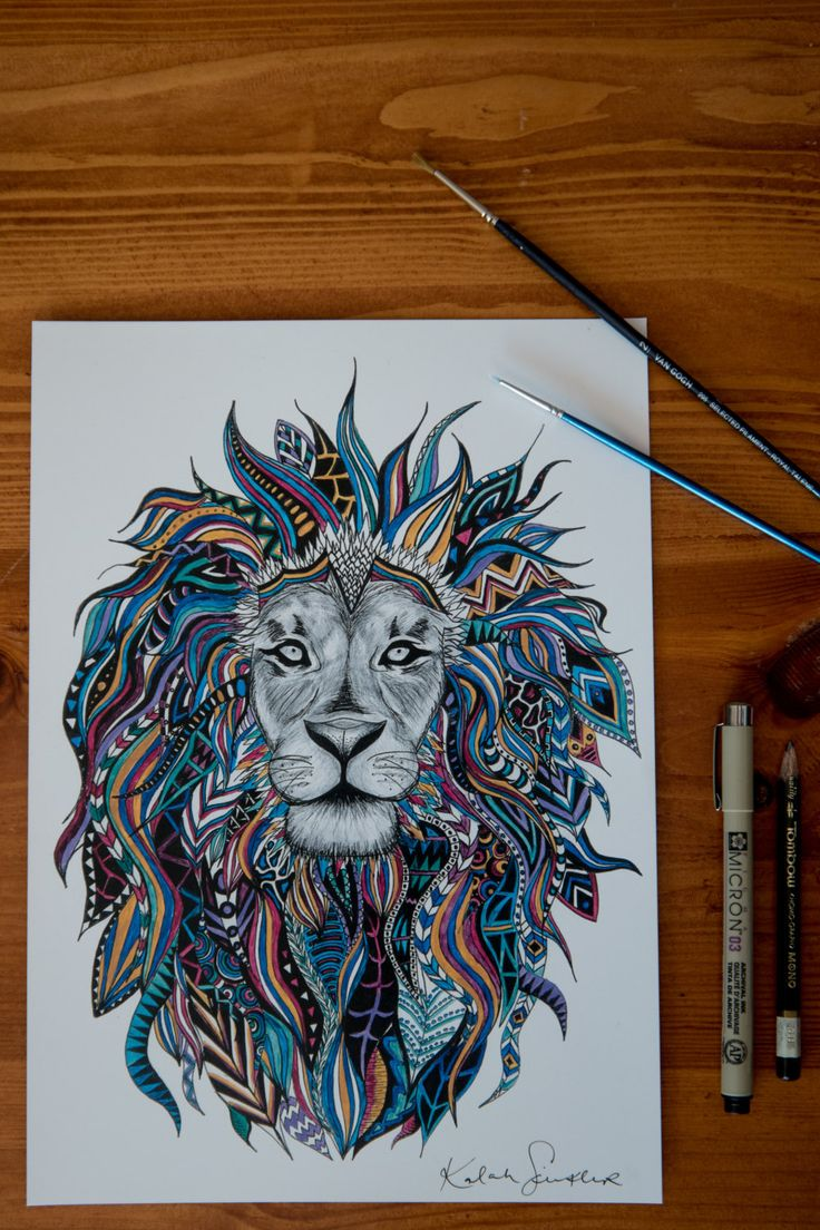 Painted Tribal Lion Print by EtchesOfCrimson on Etsy
