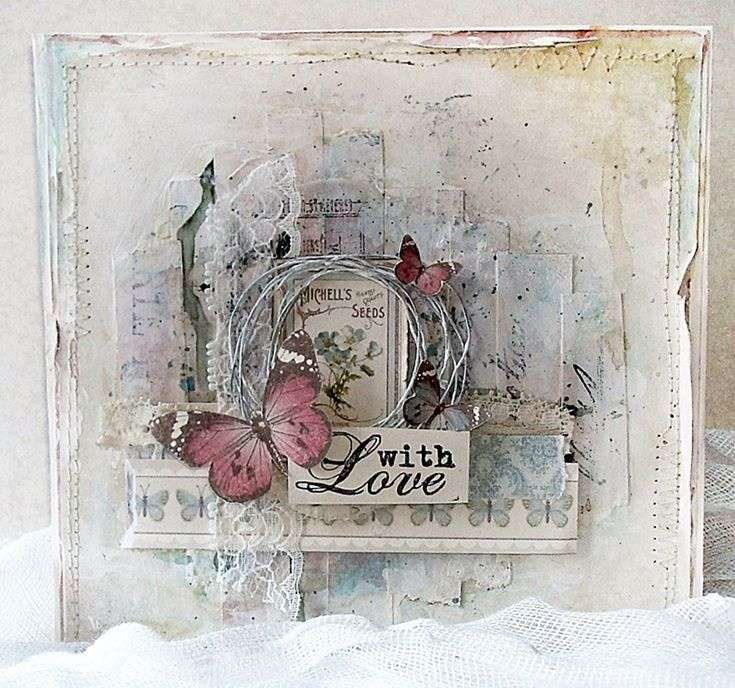 Mintun askartelujutut: Mixed media card - With Love