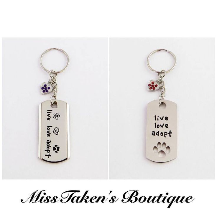 Live+Love+Adopt+Dog+Tag+Key+Chain  Key+Chain+Length:+9.5cm Dog+Tag+Size:+5cm+x+2.5cm  Comes+in+two+styles: Style+#1+-+Cut+out+paw+print Style+#2+-+Solid+Piece  Heart+charm+colors+available:+ clear,+light+pink,+light+blue,+dark+blue,+light+purple,+dark+purple,+light+green,+dark+green,+ye...