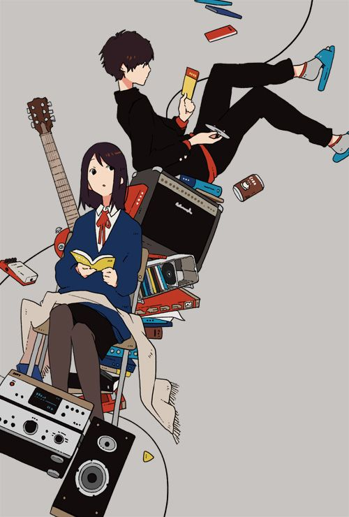早川書房『演奏しない軽音部と4枚のCD』(著:高木敦史 ) 装画 I drew the cover illustration for the novel by Atsushi Takagi, published by Hayakawa publishing.