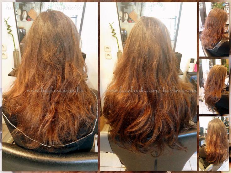 Hajdúsítás egy kis hosszabbítással. 50 cm-es európai hajból készült dúsítás, 3 soros mikrogyűrűs varrással.  www.hajbevarras.hu www.fb.com/hajbevarras #hajhosszabbítás #hajdúsítás