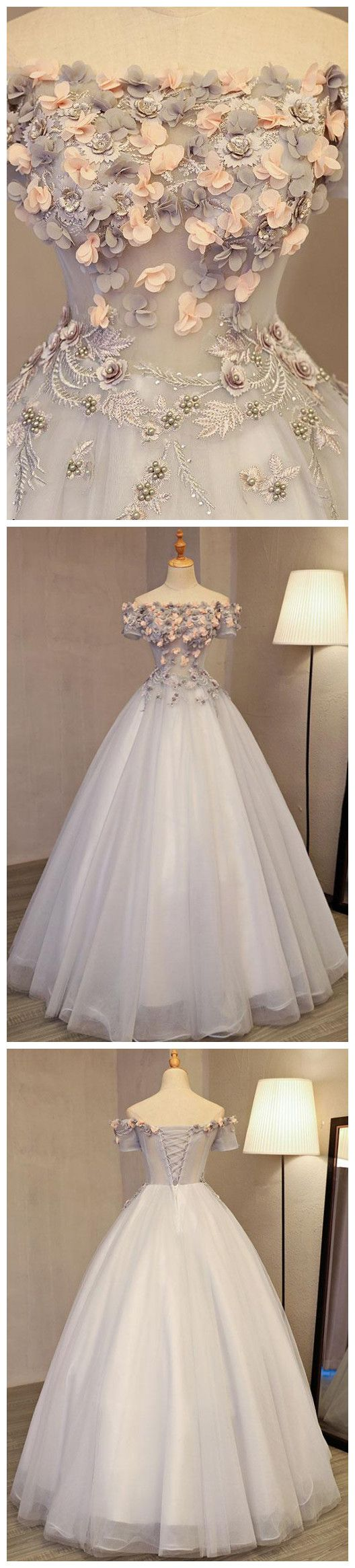 A-LINE OFF-THE-SHOULDER TULLE APPLIQUE CHIC LONG PROM DRESS EVENING DRESS AM685 #amyprom  #fashion #party #evening #chic #promdress #promdresslong #longpromdress #eveningdress  #gray