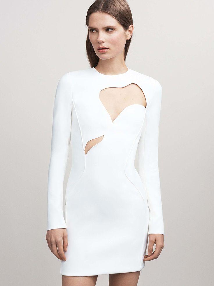 Contemporary Fashion - white cutout dress, chic futuristic style // Mugler Resort 2017