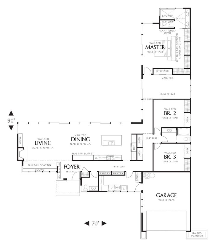 House Plan 1238 -The Mitchell Glen -- master closets are amazing, open kitchen, living & dining, laundry on exterior, nice privacy for bedrooms, powder room, sun space could be an office area or play area for kids. I would make it wider from kitchen wall towards the backyard so I could have a wall of storage cabinets 3 or 4 feet deep on the wall behind the kitchen.