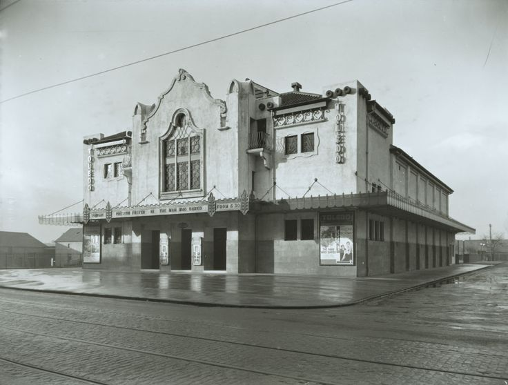 The Toledo Cinema in Clarkston Road, Muirend, was an imaginative Spanish-American style creation by William Beresford Inglis, with the exterior's hacienda theme continued inside. Several attempts by its owners to close it in the 1960s and 1970s were thwarted by local campaigners. In 1982 the cinema was renamed the Cannon. After years of neglect by ABC, the South Side's last remaining suburban cinema finally closed its doors in 2001.  - TheGlasgowStory