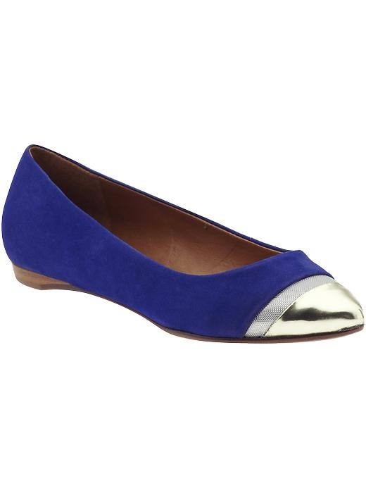 Navy flat with gold toe - LOVE
