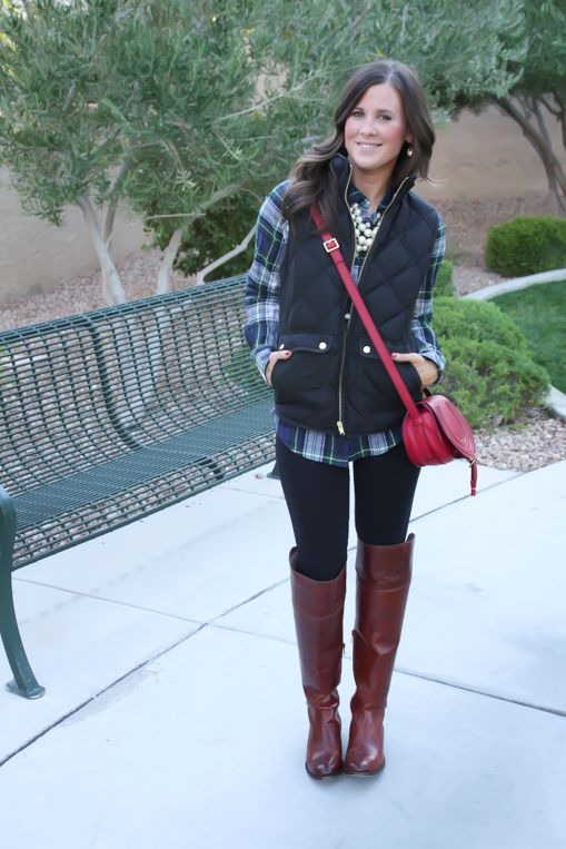 Plaid Shirt Quilted Vest Black Leggings Brown Over The