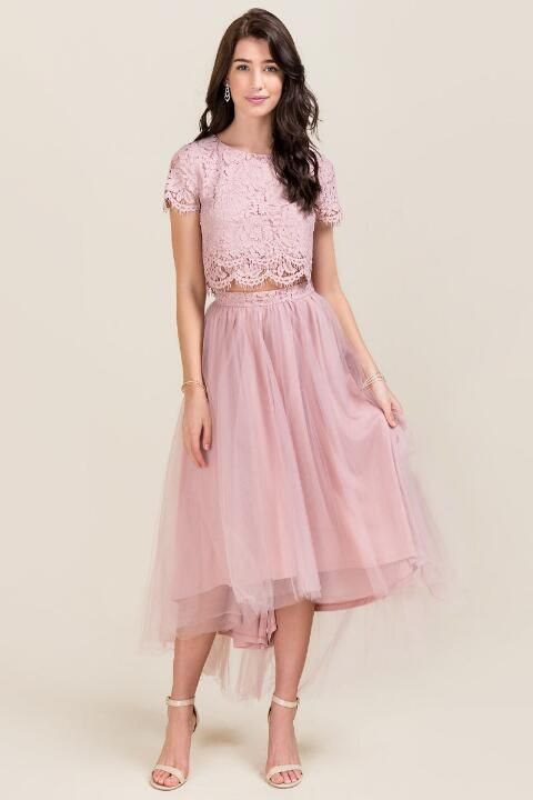Mya Maxi Tulle Skirt- Mauve model