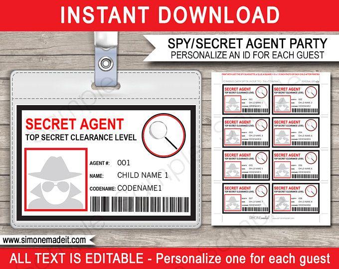 Spy Secret Agent Birthday Party Printables Decorations Etsy Spy Birthday Parties Secret Agent Party Spy Party