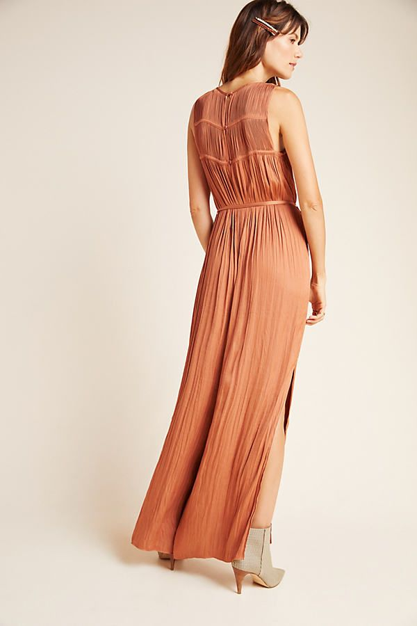Mandy Pleated Wide-Leg Jumpsuit by Current Air in Brown Size: L, Women's Jumpsuits at Anthropologie 1