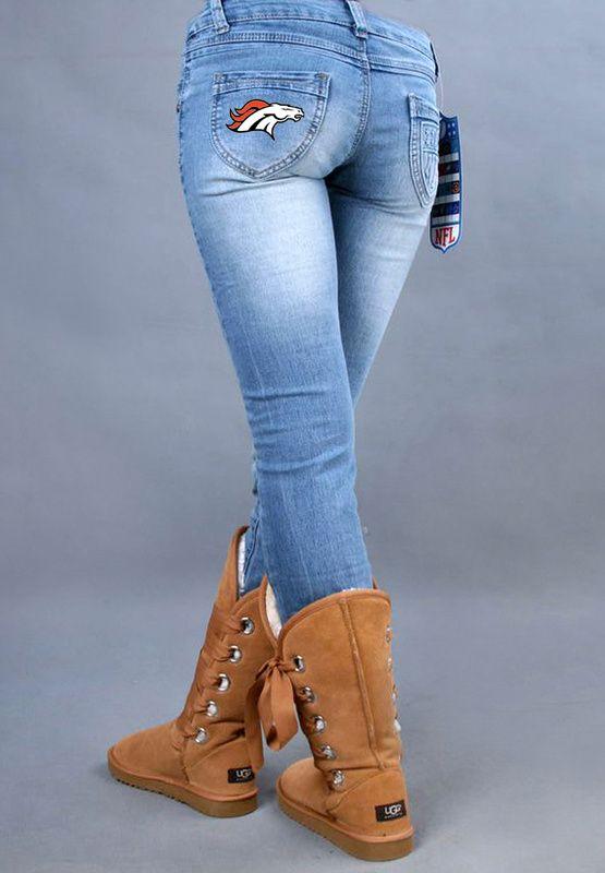 NFL Denver Broncos Women light blue fans stretch jeans