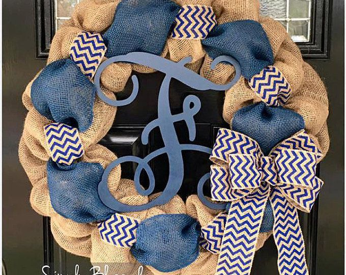 Navy Blue Chevron Burlap Wreath 22 inch front door or accent - outdoor / indoor