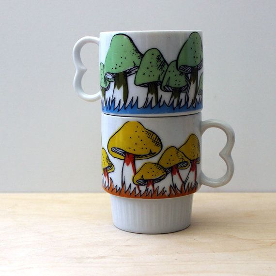 Mushroom mugs. Pair of vintage 1970s stacking cups. by Kultur