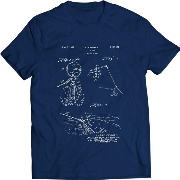 Gaff Fischen Weinlese Fisch Haken Speer Harpunen Greifer Patent T-Shirt Geschenk Idee 100% Baumwolle