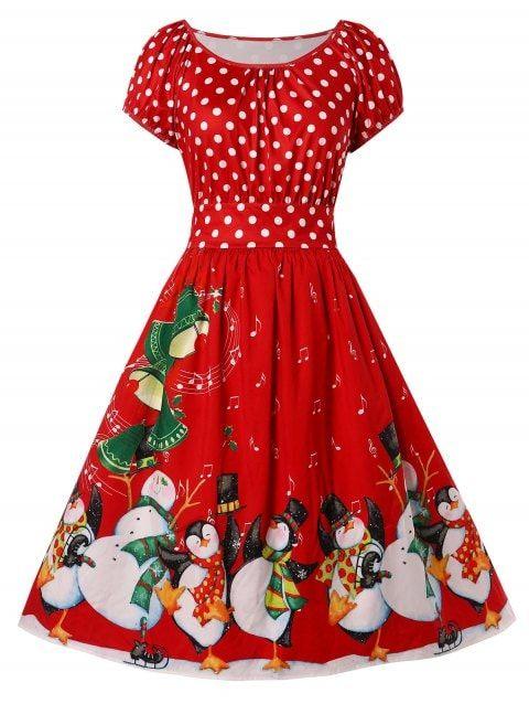 Womens Plus Size Penguin Print Christmas Dress - RED.  affiliatelink  ad   womens  Christmas  dress  holiday  party  vintage  plus  swing  fancy  red  ... dbd9f2a0a895