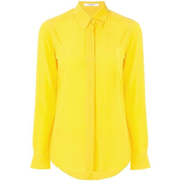 Givenchy ($1,130) ❤ liked on Polyvore featuring tops, yellow silk top, givenchy top, silk tops, silk long sleeve top and yellow long sleeve top