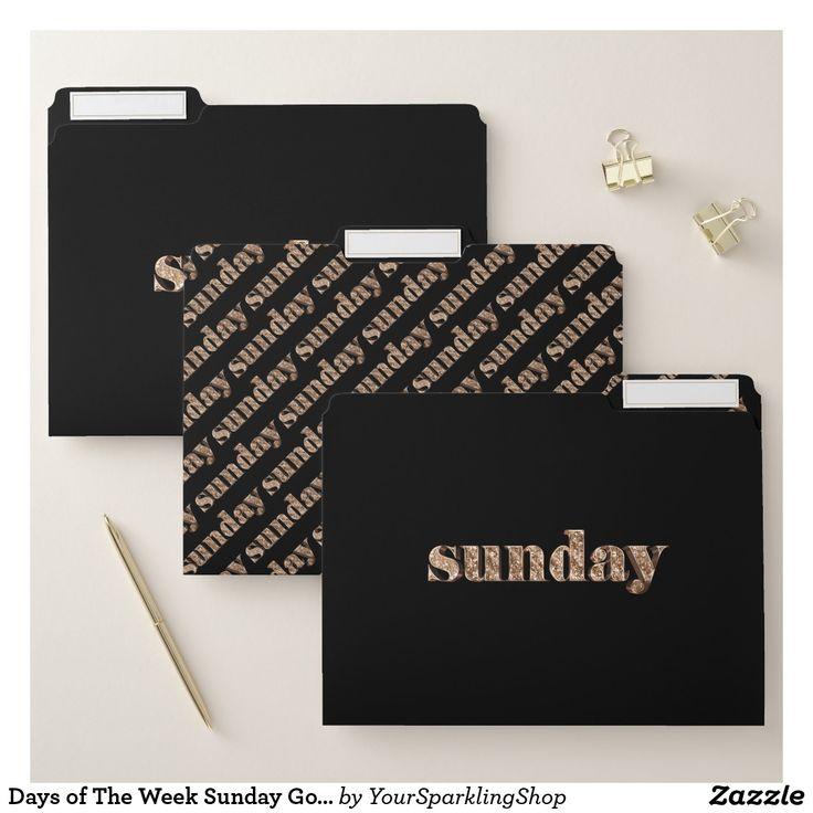 Days of The Week Sunday Gold Typography Elegant