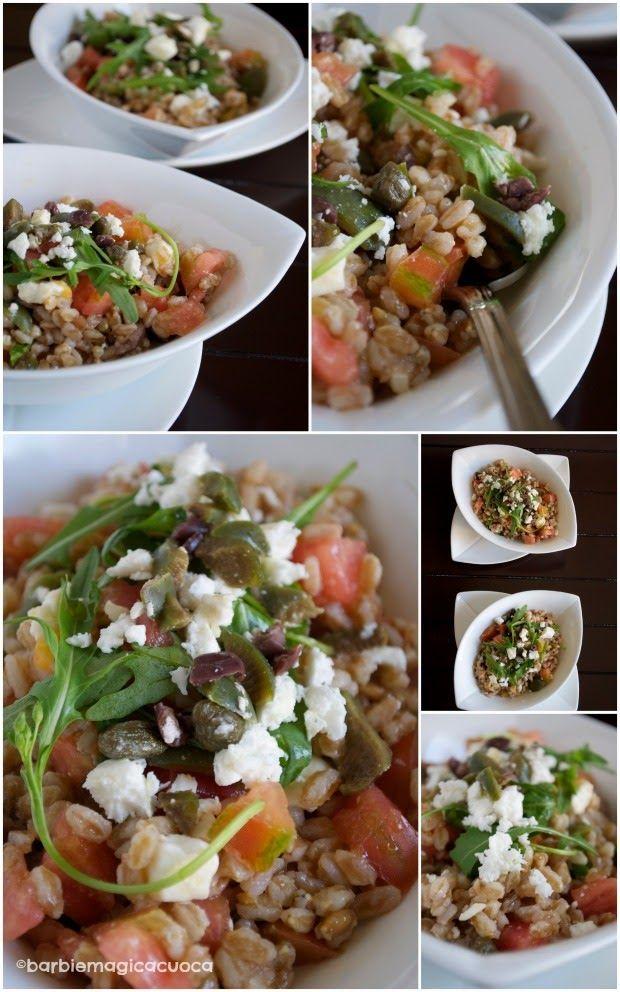 Insalata di farro con olive, capperi, rucola, feta e pomodoro di sorrento | Barbie magica cuoca - blog di cucina