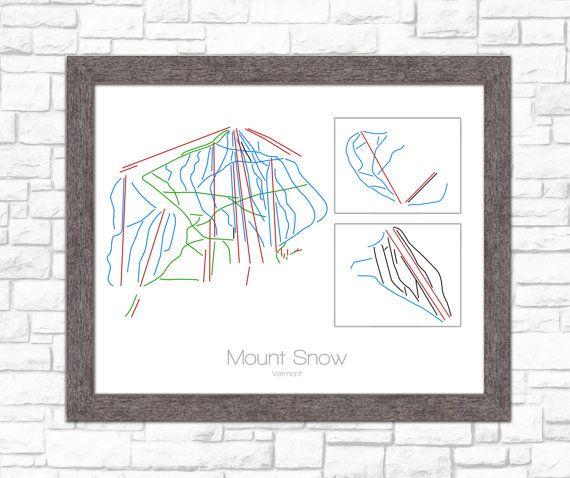 Mount Snow Vermont VT Ski Snowboard Trail Map Art  by ModernMaps