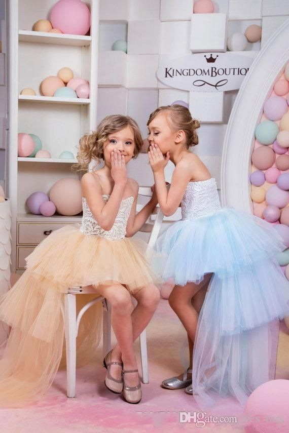 2016 Tutu Flower Girls Dresses For Weddings Sweetheart Hi Lo Length Tulle Tiered Party Birthday Dress Children Communion Girl Pageant Gowns Online with $72.37/Piece on Yes_mrs's Store | DHgate.com