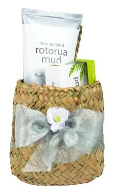 Rotorua Mud Flax Basket with Face Pack and Soap. Shipped world wide. http://www.shopenzed.com/rotorua-mud-flax-basket-with-face-pack-and-soap-xidp590738.html