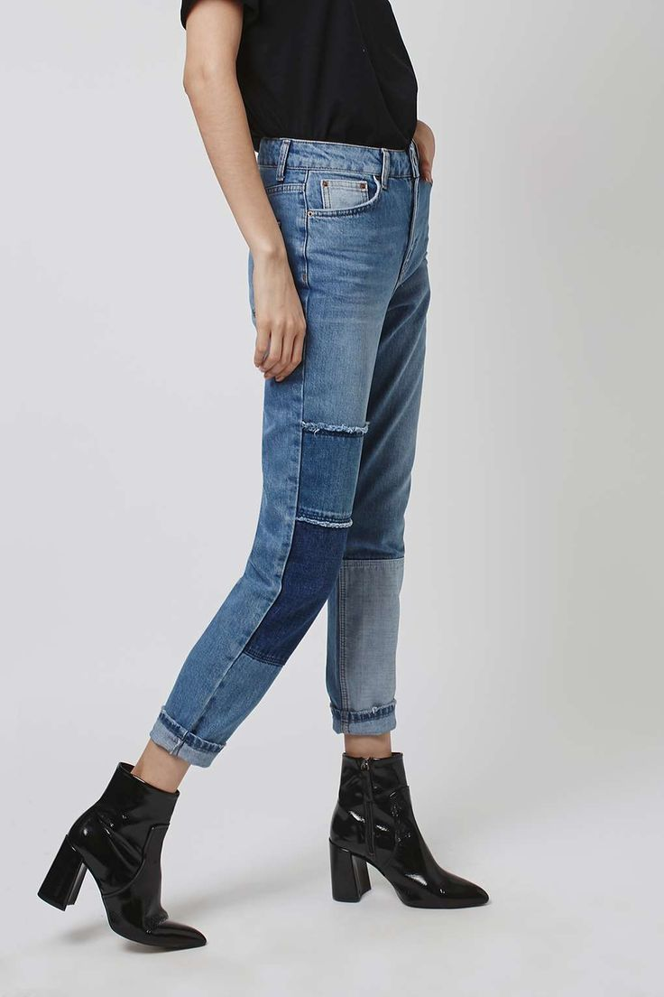 MOTO Patchwork Mom Jeans - Jeans - Clothing - Topshop