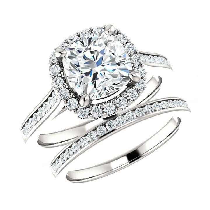 7mm Cushion Forever One Moissanite Engagement & Diamond Wedding Set