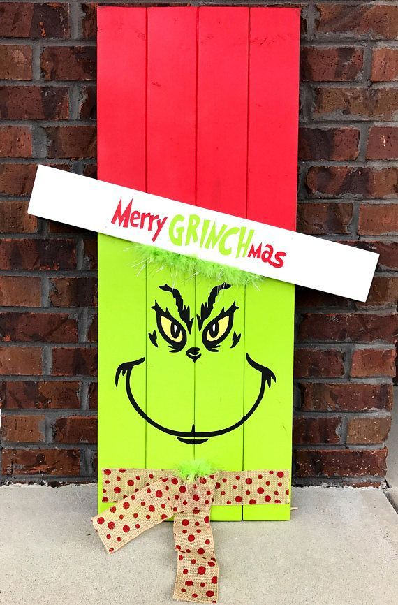 Reversible Scarecrow Grinch Pallet Sign Porch Decor Porch