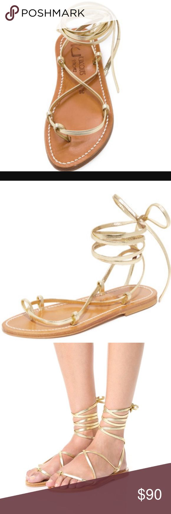 K. Jacques Bikini Wrap Gladiator Sandal. Size 36/6 Classic K. Jacques sandals in metallic leather. Slim wraparound straps cross at the vamp and tie at the ankle. Leather sole. Calfskin leather. Made in France. Size 36/6. Worn very minimally - in great condition. Everything must go! K. Jacques Shoes Sandals