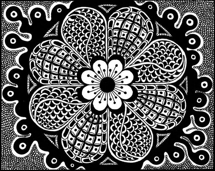 Zentangle Billeder, Tegning, Sort Og Hvid, Kunst