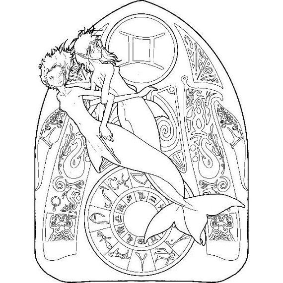 350 best adult colouring zodiac signs images on pinterest for Gemini coloring pages