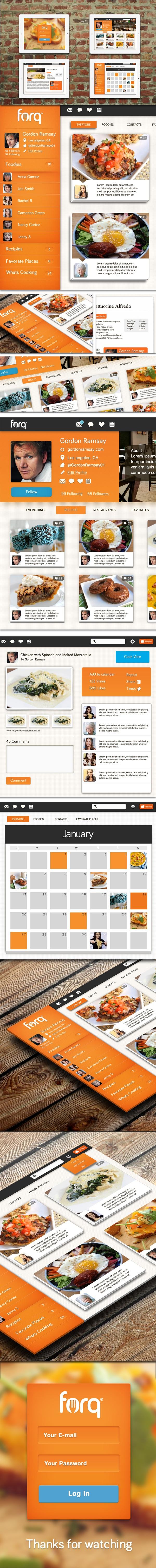Food Network App by Isaac Sanchez, via Behance #webdesign #website #app #layout #orange #food