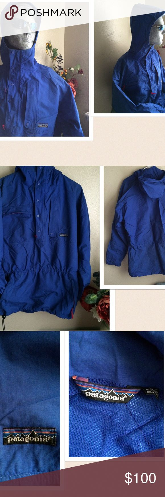 """Vintage Patagonia Parka Hoodie Rain Jacket 💲Final Price 🚫🚫No Offers🚫🚫 Vintage Patagonia Hoodie Rain Jacket. Has tons of features. The hoodie has a wire brim for extra support. zipper and snap button closure. 2 large top snap button & zipper pockets. 2 bottom zipper pockets. Elastic waist with draw cord at the hem. Adjustable sleeve cuffs. Material: 100% nylon. Size: Medium: pit-pit 25.5"""" Length: 31"""". Preowned with 3 small rip under the arm and inside has little wear on the elastic…"""