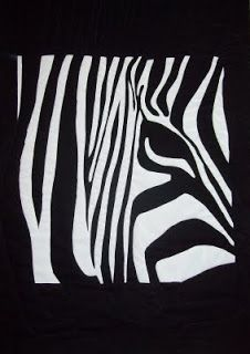 Here's looking at you, kid (Zebra) - art quilt, screen print on fabric, machine quilted