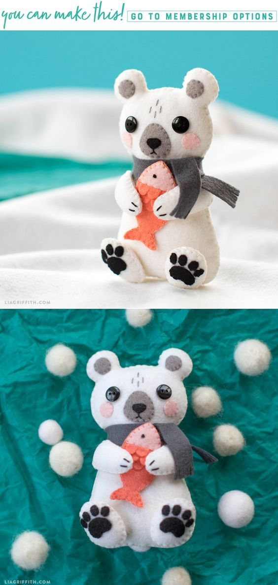 DIY Felt Bear Tutorial - Learn How To Make A Cute Polar Bear Stuffie - Lia Griffith - www.liagriffith.com #feltcute #felt #diyfelt #feltcraft #diytoy #diytoys #madewithlia