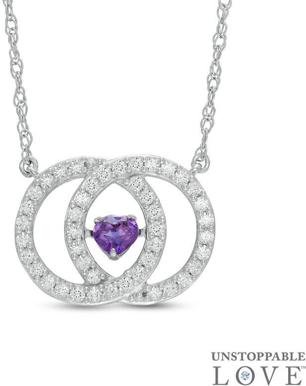 """Zales Unstoppable Loveâ""""¢ 4.0mm Heart-Shaped Amethyst and White Sapphire Interlocking Circles Necklace in Sterling Silver"""