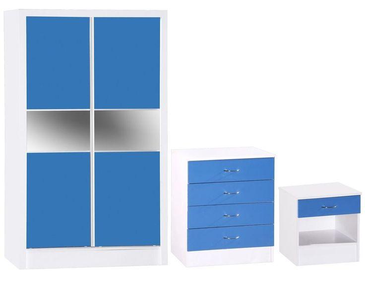Bedroom Furniture Set Sliding Wardrobe Chest of Drawers Bedside Table Blue White