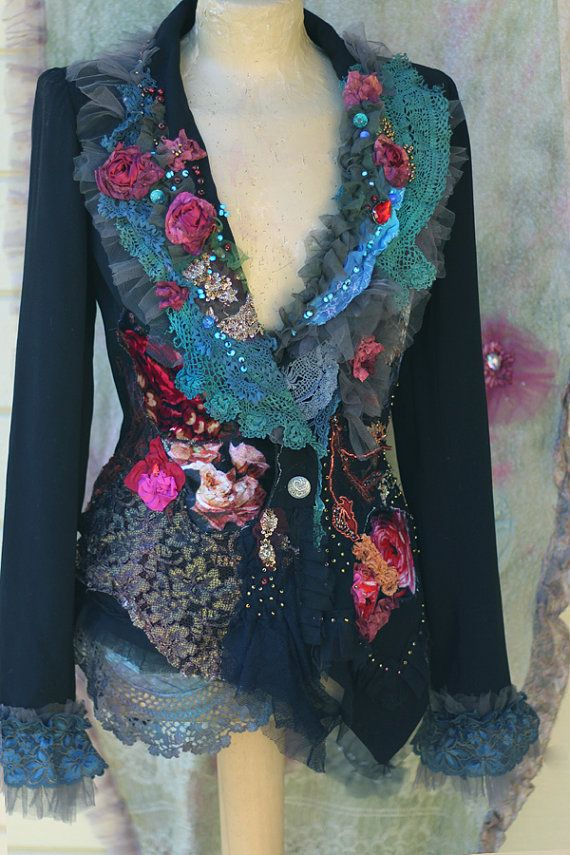 RESERVED-- PART PAYMENT-Baroque dandy - extravagant  reworked vintage jacket, wearable art, hand embroidered and beaded details,