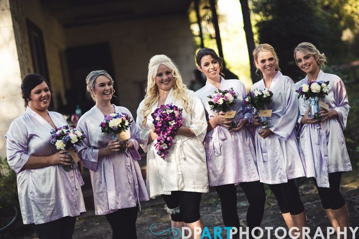 Bridemaids, lilac robes, bouquets, lilac and purple colours, Allegro Weddings