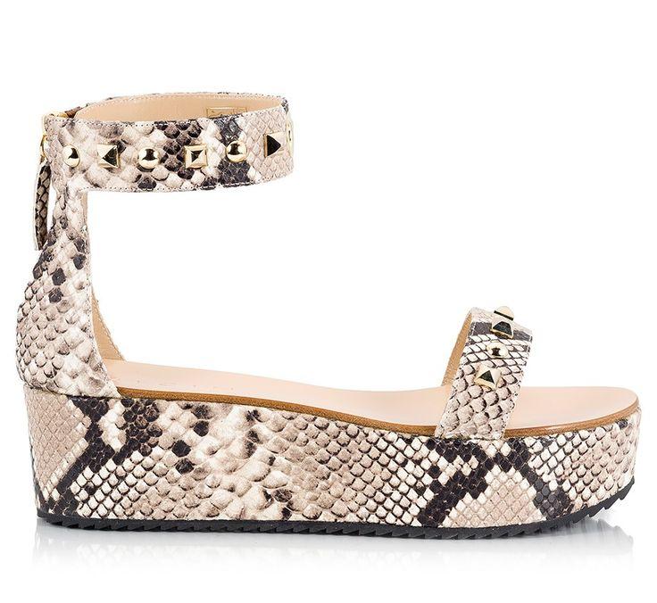 Vicini Snake print leather ankle-cuff studded flatform sandals  #ViciniShoes #GiuseppeZanotti #Platform #Sandals