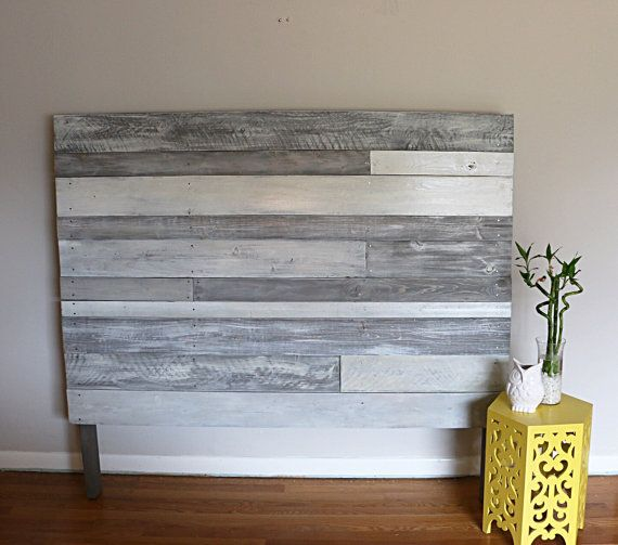 Pallet headboard white/grey pallet headboard wood by RustasticWood (Diy  Pallet Wall)