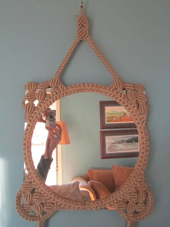 Here is a rare QUALITY macrame picture frame from the late 60s or early to mid 70s. Currently home to a mirror, the mirror could be easily replaced