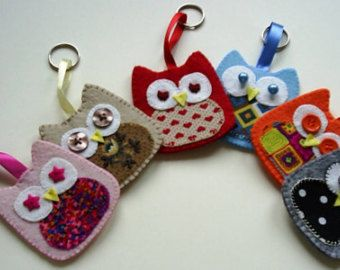 FREE POSTAGE on owl keychain handstiched in felt,owl keyring, felt and fabric owl keychain,owl keyfob,woodland owl, handcrafted by FRALINE