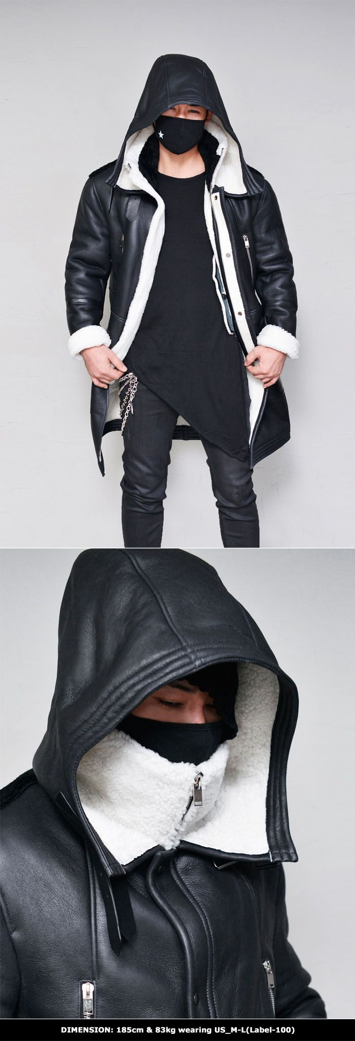 Shearling Lambskin Hooded Armor Long-Leather 116 by Guylook.com  Premium quailty 100% thick lambskin with 100% full thick shearling lining Unbeatable powerful dark-edge look & toasty warm & cozy Generously sized yet still creates a flattering slim drape Big size hood & long length Black shearling back contrast Double-belted buckles on the neck Double-layer highneck turtle with black shearling contrast that prevents it's neck part from getting dirt from skins Style killer monster with amazing…
