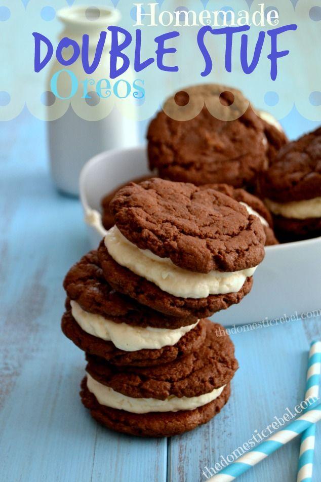 Homemade Double Stuf Oreos -- taste just like Oreo Cakesters and Oreo Cookies!